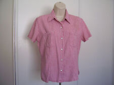Dockers Womens Shirt Size M Short Sleeve Button Down Pink Checkered Cotton
