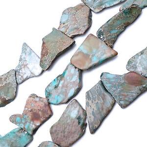 "Blue Green Aqua Terra Jasper Freeform Slab Slice Beads 30-50mm 15.5""Strand"