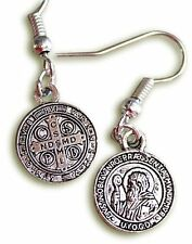 tiny silver Saint St Benedict Cross Christ Catholic Christian earrings