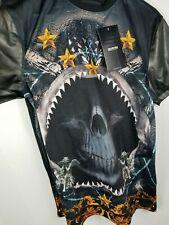 AKADEMIKS JEANIUS LEVEL Men's Graphic T-Shirt Sz Medium Shark Skull Faux Leather