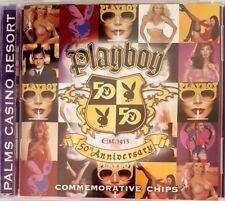 $5 Las Vegas Palms Playboy Magazine 50th Anniv Casino Chip Set of 5 with CD Case