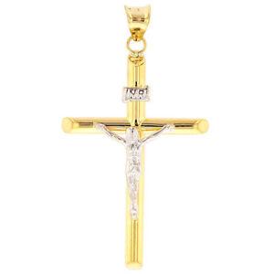 High Polish 14K Gold Tubular INRI Cross Crucifix with Jesus Christ Charm Pendant
