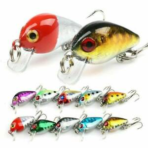 10 Pcs Fishing Lures Lots Of Mini Minnow Fish Bass Tackle Hooks Baits Crankbait