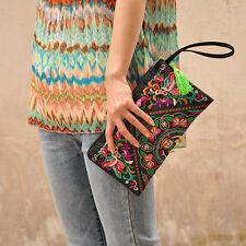Women Ethnic Retro Satin Butterfly Flower Embroidered Bag Fashion Handbag Purse