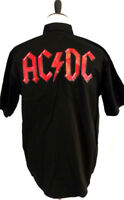 AC/DC Mens Shirt Black Graphic Music Rock Band Short Sleeve Button Down Pocket