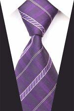 Purple Hand Woven 100% Pure Silk Tie with Diagonal Stripe Pattern  By Kai Long