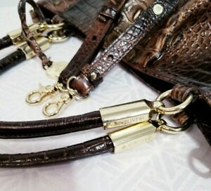 BRAHMIN RUBY COCOA MELBOURNE LEATHER SATCHEL PLEATED HOBO SHOULDER BAG HANDBAG
