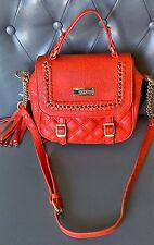 NEW BCBG PARIS RED LEATHER CROSS BODY BAG STUDDED TASSEL CHAIN LINK NWT $129