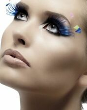 Fever Collection Eyelashes Blue Neon Feather Plumes False Lashes W Adhesive New