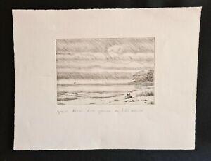 Épreuve Dessin d'une gravure de F.M WALCH bord de Mer Plage sous la tempête XXe