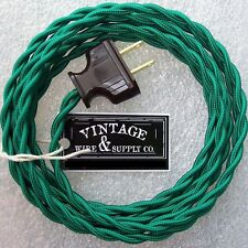 Green Cloth Covered Twisted Wire 8-foot Vintage Rewire Kit Lamp Cord - Pendant