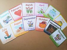 MONTHS OF THE YEAR - 12 FLASH CARDS -MONTH / PICTURE -CLASS / HOME / CHILDMINDER
