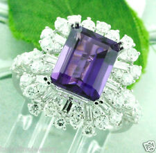 4.86 ct 18k Solid White Gold Ladies Natural Emerald Cut Amethyst & Diamond Ring