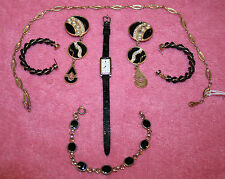 Vintage Jewelry Lot – Seiko Watch, Sarah Coventry, Black & Gold-Tone