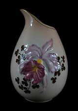 CARLTON WARE - Large Hand Painted & Embossed Orchid Vase - UK - Mid 20th Century