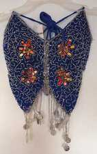 New_Gorgeous_Embroidered Belly Dance Butterfly Beaded with Coins Top_Bra_Blue