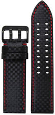 24mm PM Black Carbon Fiber Style Watch Band w Red Stitch & 2 Tang PVD Buckle