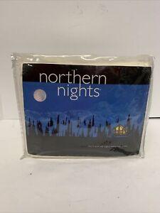 Vintage Northern Nights Flannel Sheet Set Queen 100% Cotton Off White