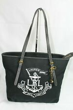 0a58d23f10 Ralph Lauren Medium Logo Seabrook Women Tote Bag Black Canvas Leather  Handbag