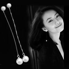 Womens 925 Sterling Silver 2 Freshwater Pearl Long Ear Chain/Link Stud Earrings
