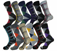 12 PK lot MEN DRESS SOCKS SIZE 9-11 FASHION COTTON BLEND DESIGN SOCKS FORMAL