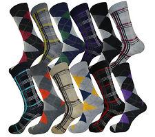 12 PAIR MEN DRESS SOCKS SIZE 9-11 FASHION COTTON BLEND MULTI COLOR PATTERN