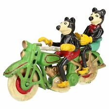Mickey Mouse On Motorcycle Motor Bike Mascot Figure Statue Cast Iron Disney