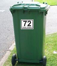 """Wheelie Bin Numbers Sticker House Road or Street Personalised Custom 4.3"""" x 5.5"""""""