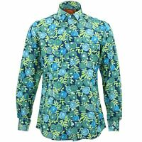 Mens Shirt Loud Originals TAILORED FIT Roses Blue Retro Psychedelic Fancy