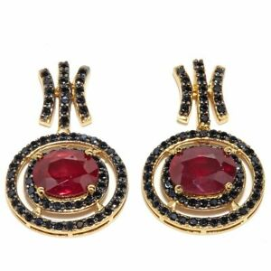 Oval & Round Ruby & Black Spinel Dangle Earrings 14K Gold Over