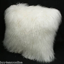 Mongolian Lamb Wool Cushion Cover White Curly Fur Pillowcase 22*22inc High-grade
