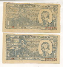 Lot of 2 rare old Banknotes from Viet Nam! Consecutive Serial Numbers!