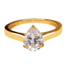 Real 14KT Yellow Gold 2.20 Carat Attractive Pear Shape Solitaire Engagement Ring