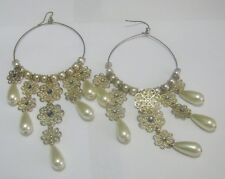 earrings faux pearls 6 ins long Pretty statement style hoop gold tone metal