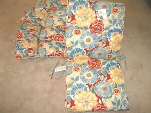 Set of 4 CHAIR CUSHIONS Patio ROSELLA TAMALE Red & Blue Pattern NEW!!