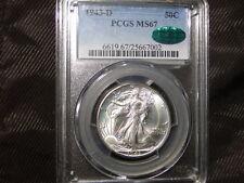 1943-D PCGS MS67 CAC Walking Liberty Silver Half Dollar-BLAST WHITE RARE GEM!!