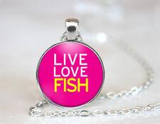 Live Love Fish Fishing Tibetan silver Dome Glass Art Chain Pendant Necklace
