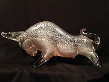 Murano Italy Art Glass Bull Figurine Taurus Silver Fleck