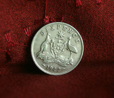 1942 Sixpence Australia Silver  World Coin KM36 George VI 6 Pence