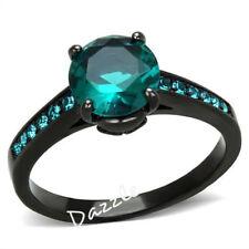 Blue Zircon Halo CZ Black Engagement Ring Women's
