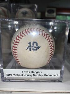 2019 TEXAS RANGERS MICHAEL YOUNG NUMBER RETIREMENT GAME USED LOGO BASEBALL