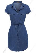 NEW Womens Longline Denim Shirt Dress Ladies Jean Dress Blue Size 6 8 10 12 14