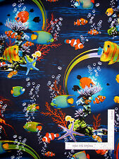 Ocean Fish Coral Reef Clown Jelly Fish Cotton Fabric Kanvas Studio Reef - Yard