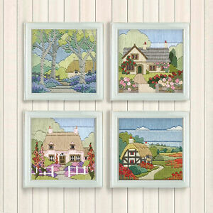 Silken Long Stitch Country Cottages Printed Canvas 11 x 11cm Picture Craft Kits