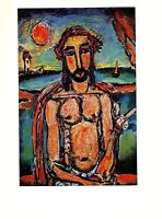 "1977 Vintage ROUAULT ""CHRIST MOCKED"" COLOR offset Lithograph"