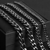 """Mens Boys 5/7/9/11mm Black Stainless Steel Curb Link Chain Necklace 24"""""""