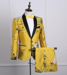 Evening Party Men's Chinese Retro Embroidery 2Pcs Coat+Pants Bowtie Tuxedo Suits
