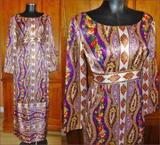 VTG 70s Satin Paisley Scarf Print Festival BOHEMIAN Chic Empire Gypsy Maxi DRESS