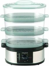 Morphy Richards 3 Tier Food Steamer 600W Stainless Steel 9 Litre 48755