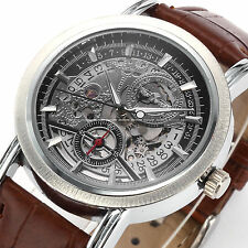 Classic Men's Skeleton Dial Date Automatic Mechanical Brown Leather Sport Watch
